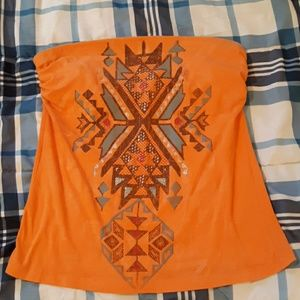 Orange tribal tube top